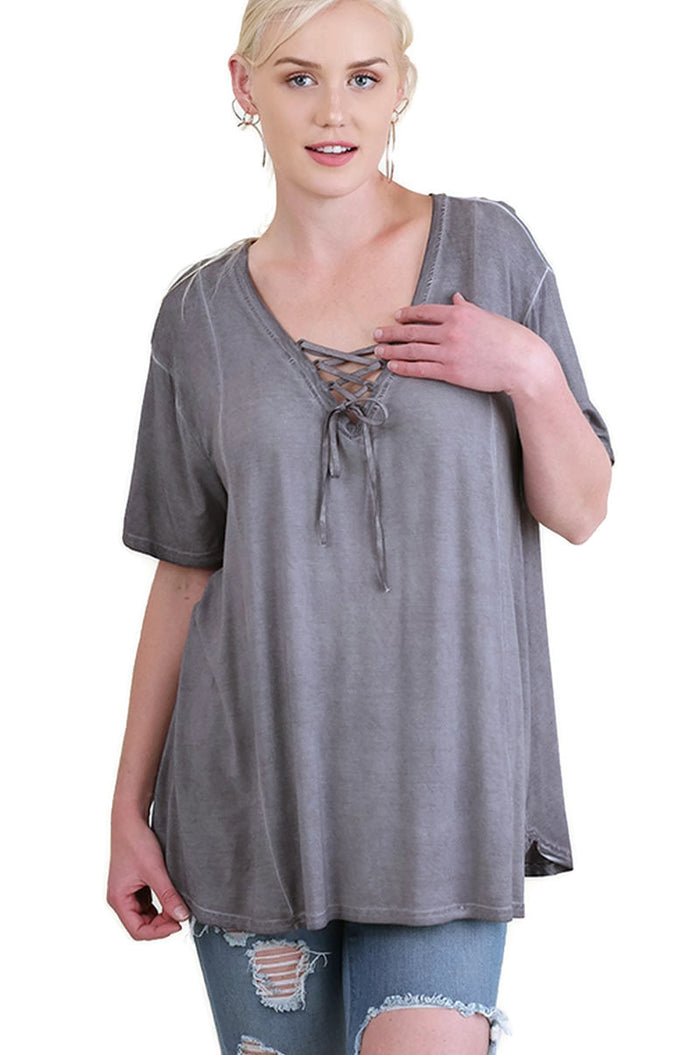 Mineral Washed Criss Cross Tunic, Cool Grey