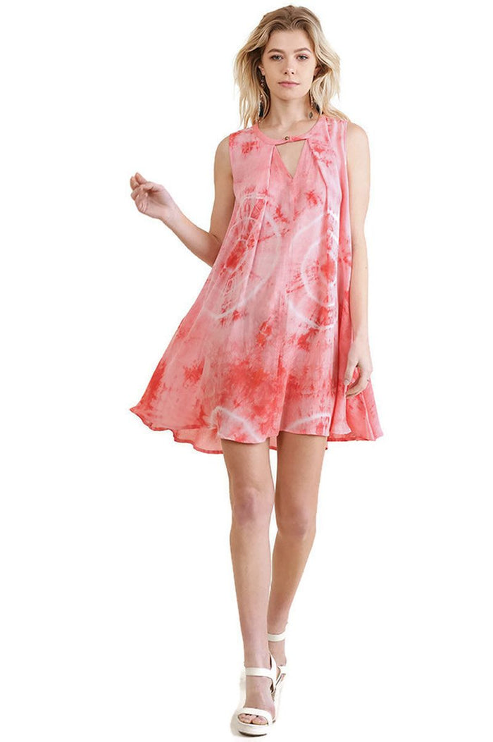 Tie Dye Sleeveless Keyhole Dress, Coral