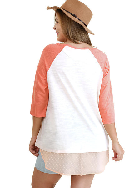 Boat Neck Raglan Sleeve Top, Peach