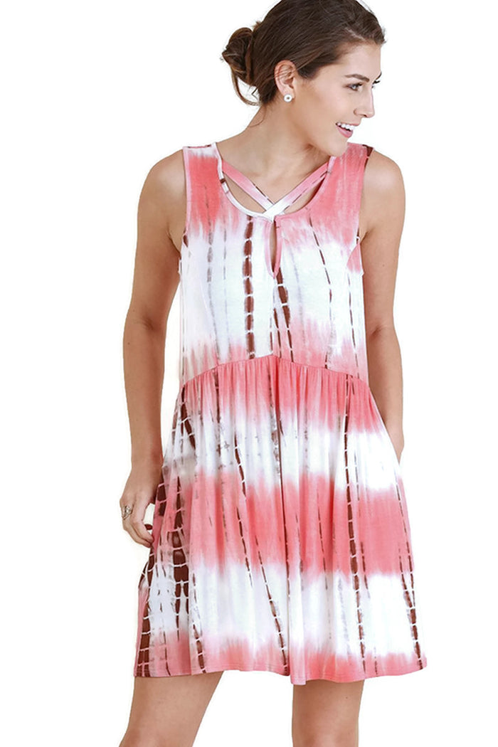 Criss Cross Tie Dye Pocket Dress, Rose