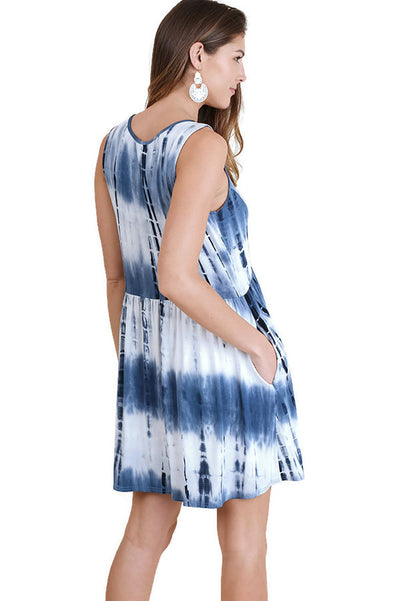 Criss Cross Tie Dye Pocket Dress, Navy