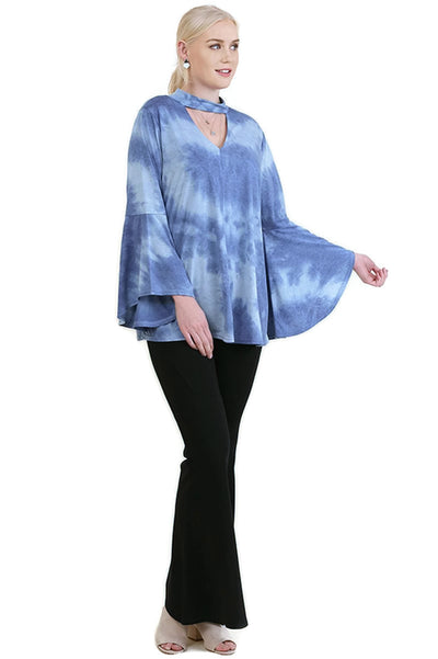 Tie Dye Bell Sleeve Bohemian Top, Blue