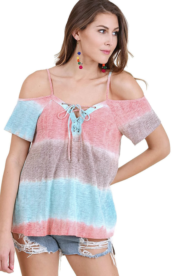 Lace Up Cold Shoulder Color Block Top, Mint Mix