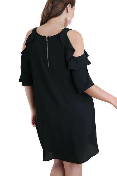 Cold Shoulder Ruffled Dress, Black