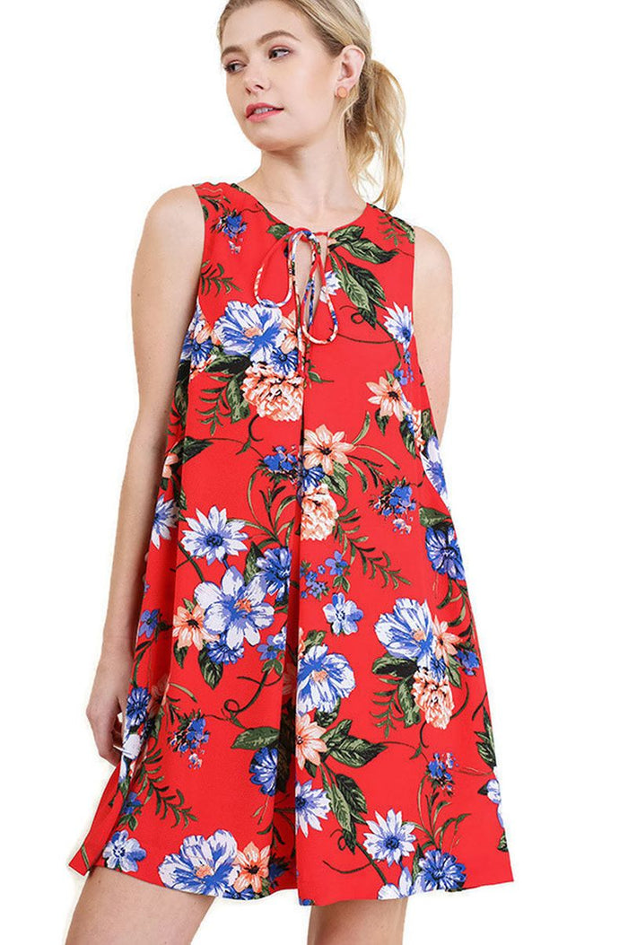 Floral Keyhole Bohemian Dress, Tomato Mix