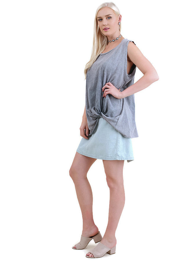 Mineral Washed Twisted Knot Top, Blue