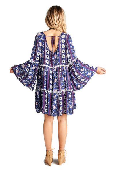 Crochet & Bell Sleeve Dress, Purple