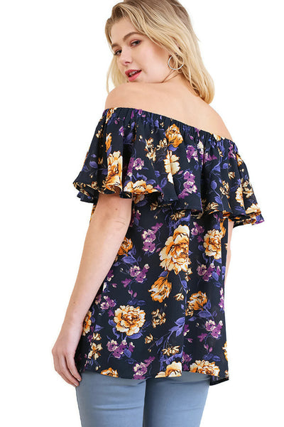 Off The Shoulder Floral Print Top, Navy
