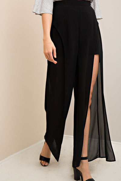Solid Slit Maxi Pants, Black