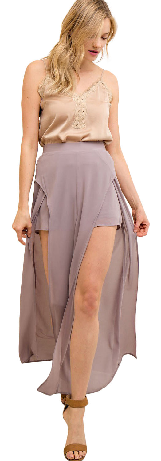 Solid Slit Maxi Pants, Lilac Grey