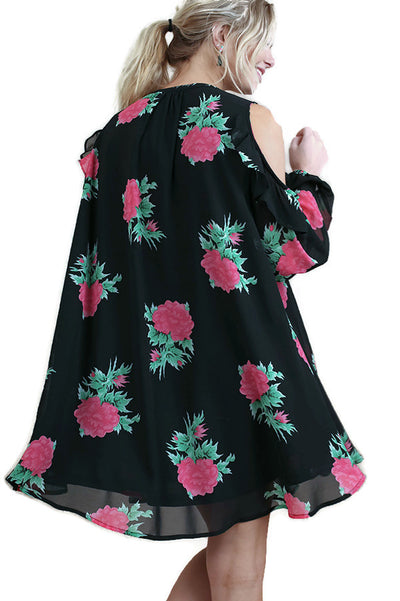 Floral Cold Shoulder Keyhole Dress