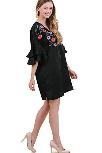 Satin Floral Embroidered & Layered Sleeve Dress, Black