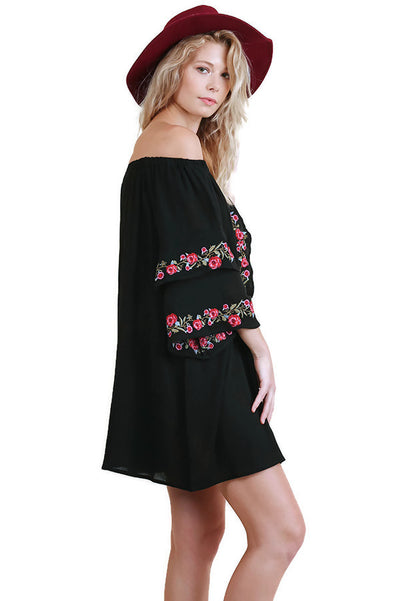 Off Shoulder Floral Embroidered Dress with Layered Bell Sleeves, Black