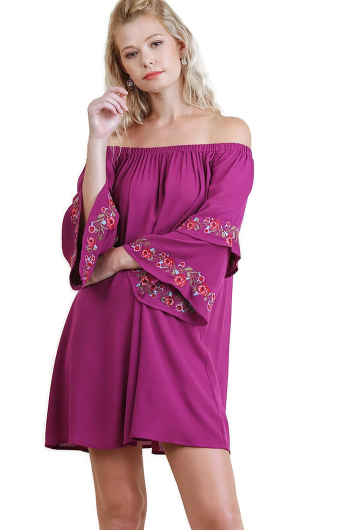 Off Shoulder Floral Embroidered Dress with Layered Bell Sleeves, Magenta