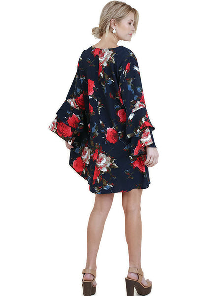 Criss Cross Layered Ruffle Sleeve Floral Dress, Navy