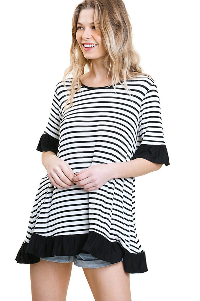 Striped Ruffle Top, Ivory/Black