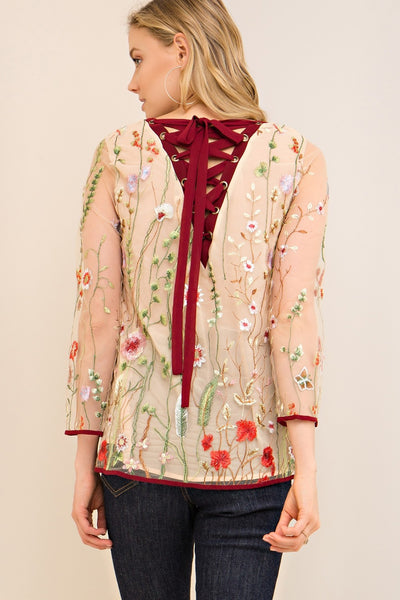 Always in Bloom Floral  Embroidered Top, Sand