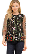 Always in Bloom Floral  Embroidered Top, Black