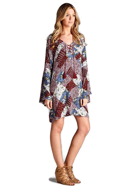 Floral Patchwork Print Dress, Red
