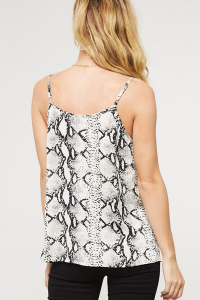 Looking Fierce Snakeskin Cami, Ivory