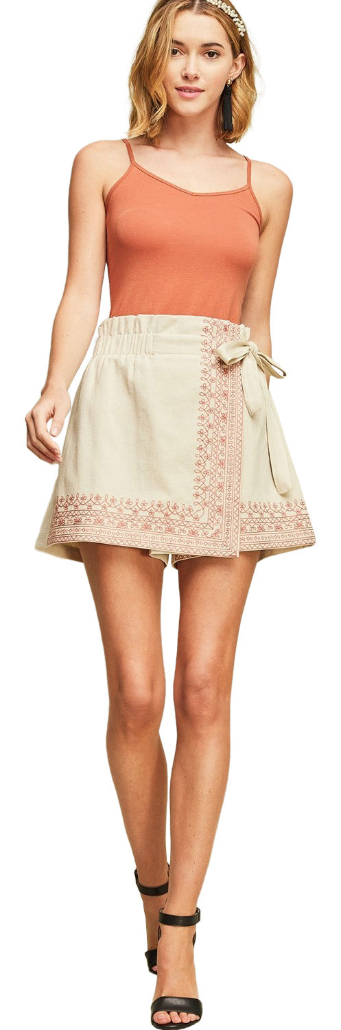 Embroidered Wrap Skort, Sand