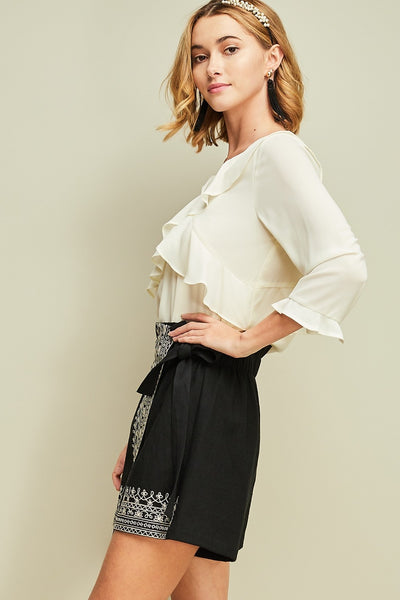 Embroidered Wrap Skort, Black