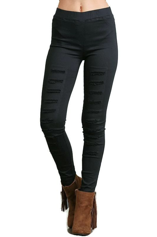 High Waist Distressed Jeggings, Black