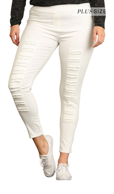 High Waist Distressed Jeggings, Cream