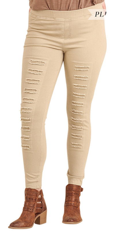 High Waist Distressed Jeggings, Taupe