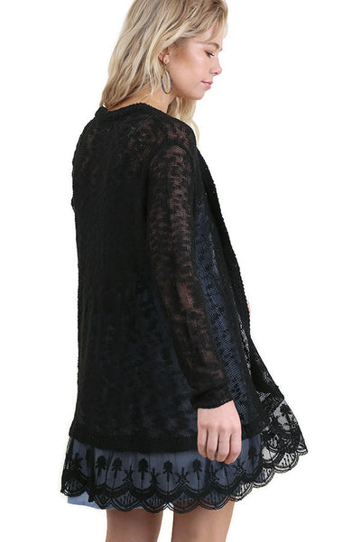 Lace Trimmed Open Cardigan, Black