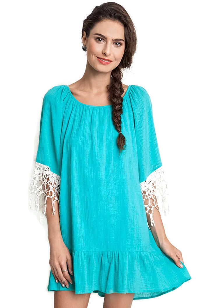 Lace & Ruffle Dress, Jade
