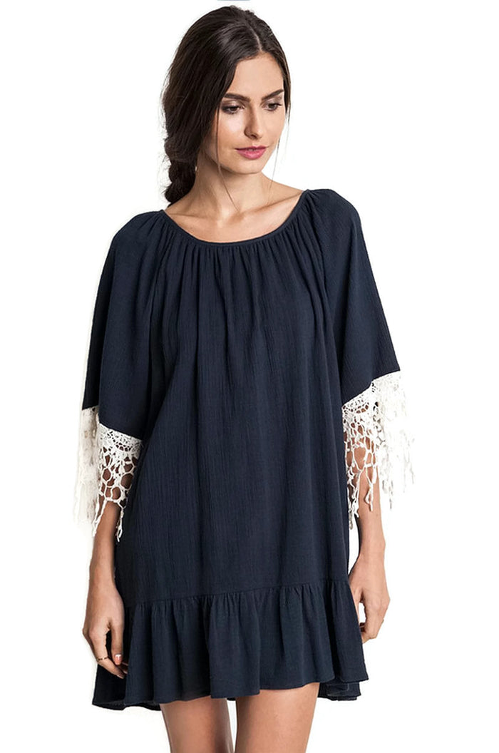 Lace & Ruffle Dress, Navy
