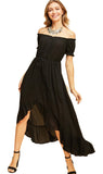 Off the Shoulder High Low Dress, Black