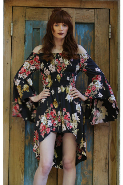 Floral Walk Through Romper, Black
