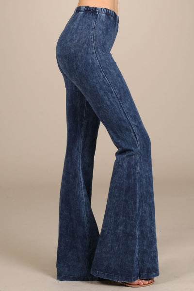 mineral washed soft bell bottom pants