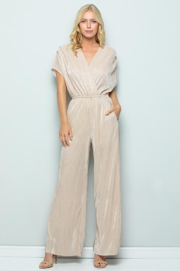 Metallic Pleated Jumpsuit, Gold