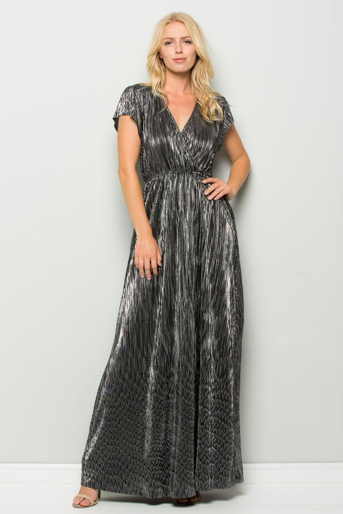 Metallic Pleated Wrap Maxi Dress, Black