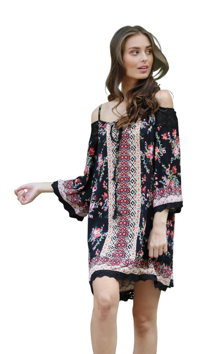 Floral Twin Print Cold Shoulder Dress, Black
