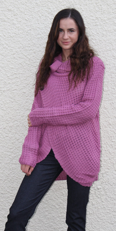 Cowl Neck Asymmetric Button Sweater, Lavender