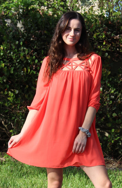 Lattice Baby Doll Dress, Coral