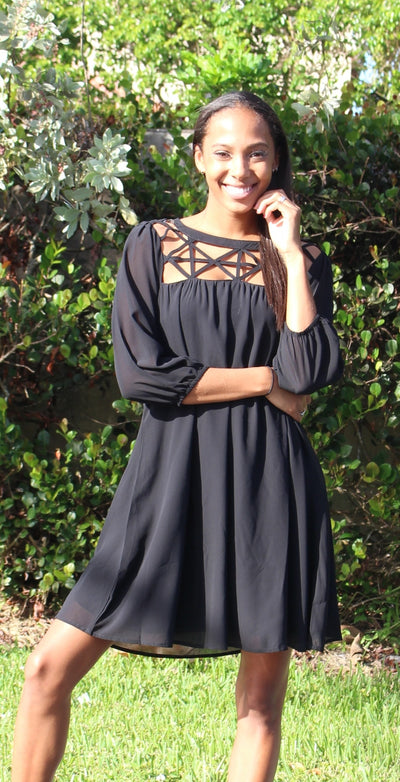 Lattice Baby Doll Dress, Black