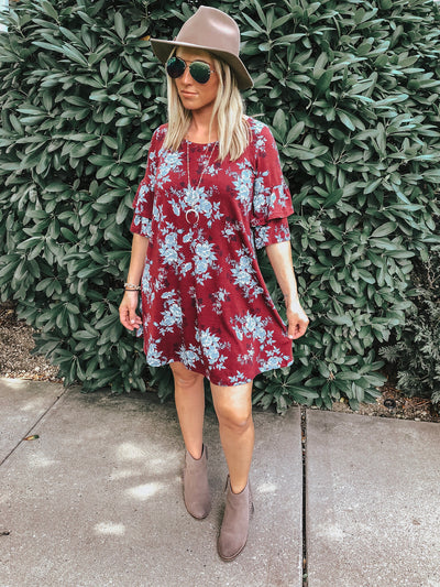 Floral Double Ruffle Sleeve Dress, Plum