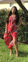 Floral Walk Through Maxi Romper, Red