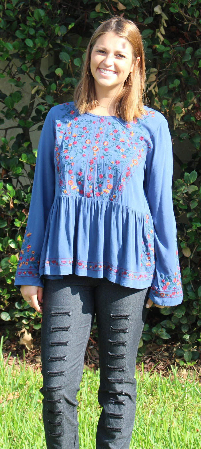 Floral Embroidered Ruffled Top, Indigo