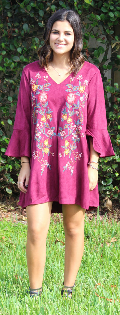 Floral Embroidered Bell Sleeve Dress, Wine