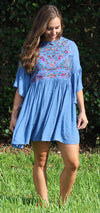 Floral Embroidered Keyhole Dress, Dusty Blue
