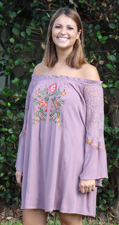 Floral Embroidered Lace Bell Sleeve Off The Shoulder Dress, Mauve