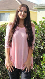 Shirred Sleeve Cold Shoulder Tunic, Pink