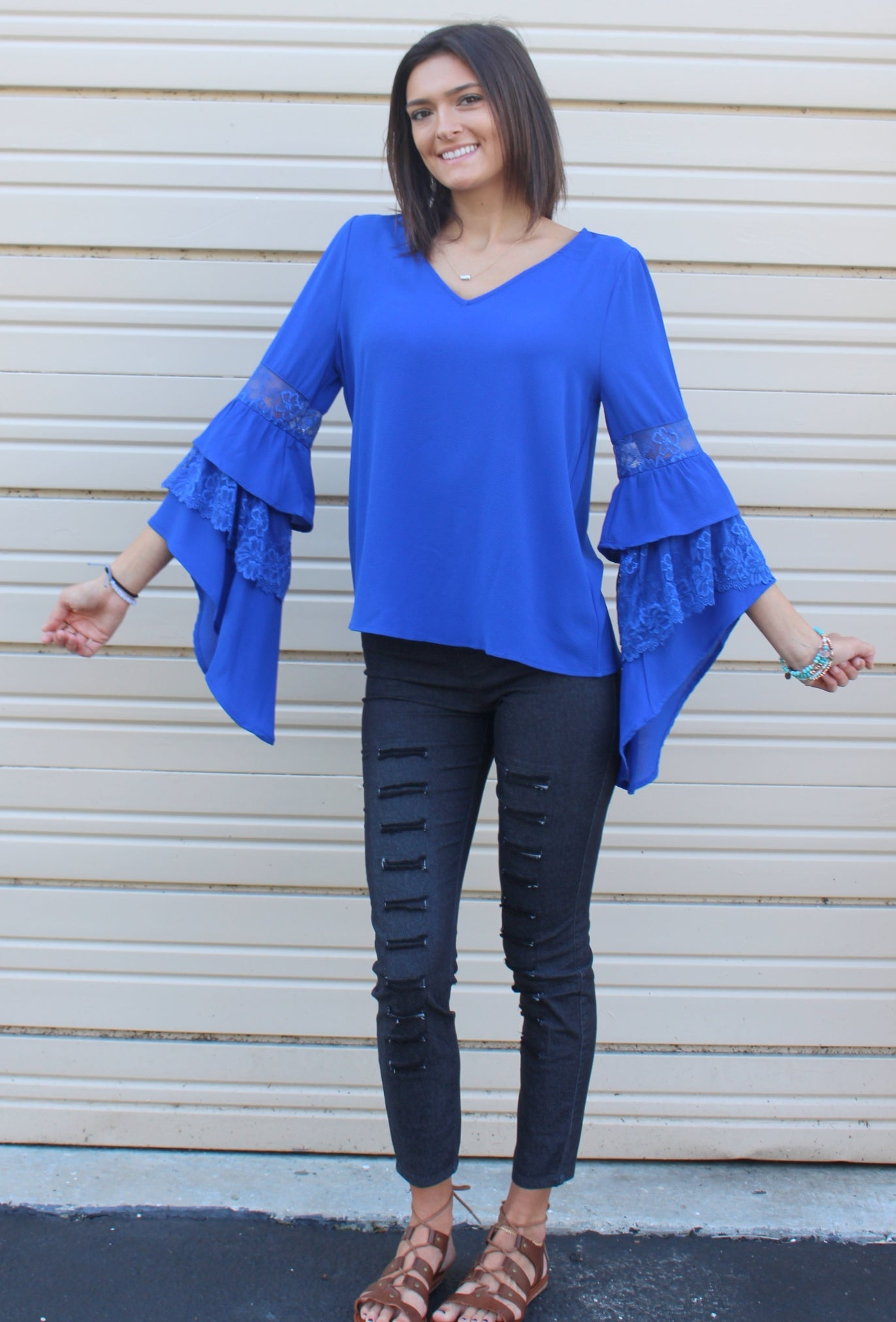 15c4bb7a5556c3 Layered Floral Lace Asymmetrical Bell Sleeve Blouse, Cobalt - Violet ...