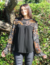 Paisley & Floral Velvet Burnout Bell Sleeve Top, Black